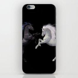 Black White horse iPhone Skin