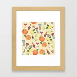 cocktail recipe pattern _ zombie Framed Art Print