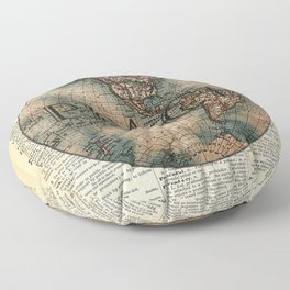 World Peace Collage-Old Dictionary Art Floor Pillow