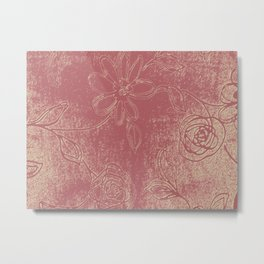 Light pink abstract design vintage velvet look with flowers Metal Print