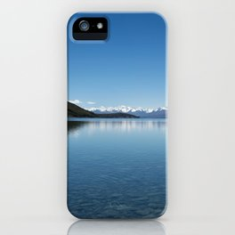 Blue line landscape iPhone Case