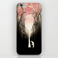 city iPhone & iPod Skins featuring Revenge of the nature II: growing red forest above the city. by Rafapasta