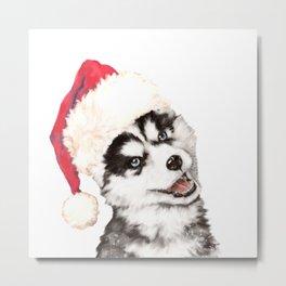 Christmas Baby Husky Metal Print