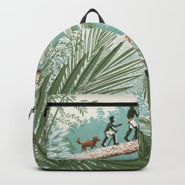 People Walking on a Log in the Jungle vintage movies poster hand drawn illustration Backpack