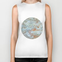 jewish Biker Tanks featuring Marble in shades of blue and gold by Brown Eyed Lady