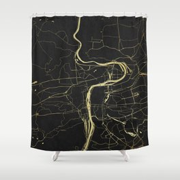 Prague Black and Gold Map Shower Curtain