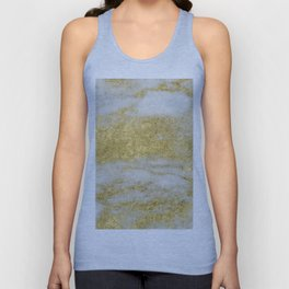 Marble - Glittery Gold Marble and White Pattern Unisex Tank Top