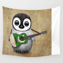 Baby Penguin Playing Pakistani Flag Acoustic Guitar Wall Tapestry