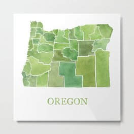 Oregon Counties watercolor map Metal Print