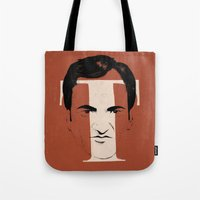 tarantino Tote Bags featuring T is for Tarantino by Albert Blanchet