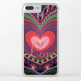 "Curly romantic heart with text ""Love Clear iPhone Case"