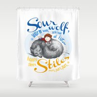 stiles stilinski Shower Curtains featuring Sterek Sleepy Wolf & Stiles I by siny