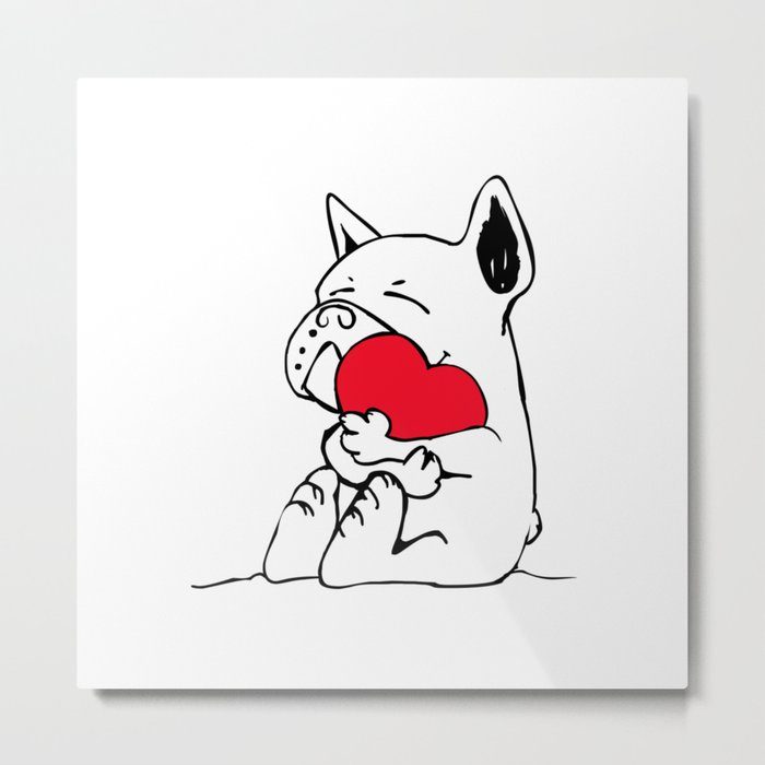 Frenchie Heart Metal Print