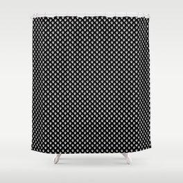 Tiny Paw Prints White on Black Pattern Shower Curtain