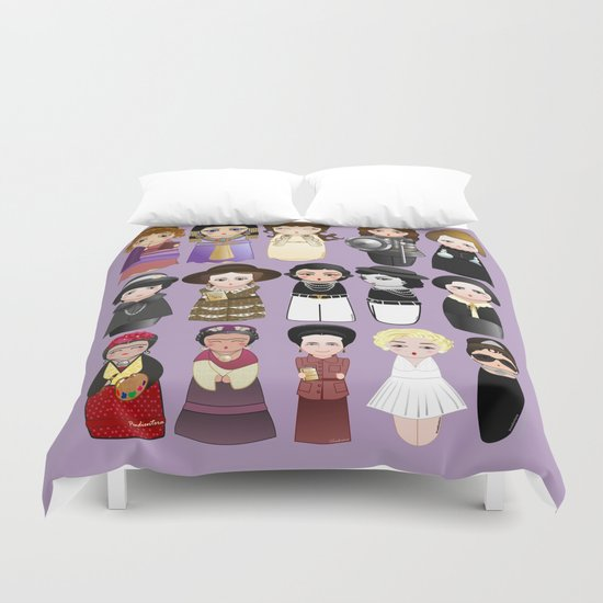 Kokeshis Women in the History Duvet Cover