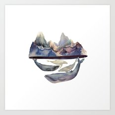 mountain and whales Art Print