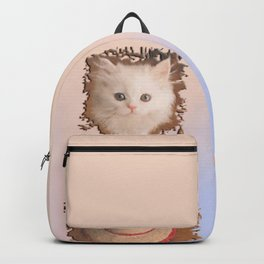 White Persian Cat Vanda up on a Sisal Hat - Retro Style (Photo by AliceCCI) Backpack