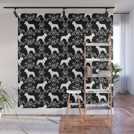 French Bulldog floral minimal black and white pet silhouette frenchie pattern Wall Mural