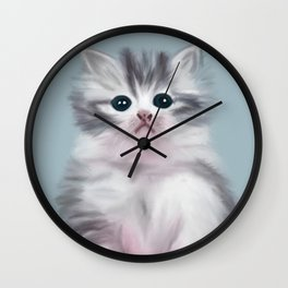 Cute Grey Kitten Wall Clock