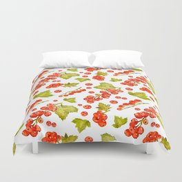 Red currant watercolor pattern Duvet Cover
