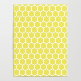 Summery Happy Yellow Honeycomb Pattern - MIX & MATCH Poster