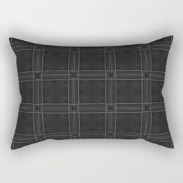 Textured Black and White Checkered Pattern Rectangular Pillow