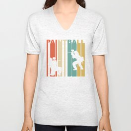 Retro 1970's Style Paintball Players Silhouette Unisex V-Neck
