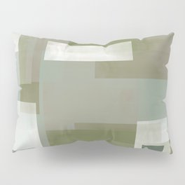 Modern Abstract No. 2 | Sage, Blue-Green, Taupe, White + Peacock Pillow Sham