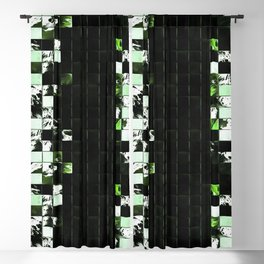 Green Accent Black And White Square Tiled Ceramic Mosaic Pattern Blackout Curtain