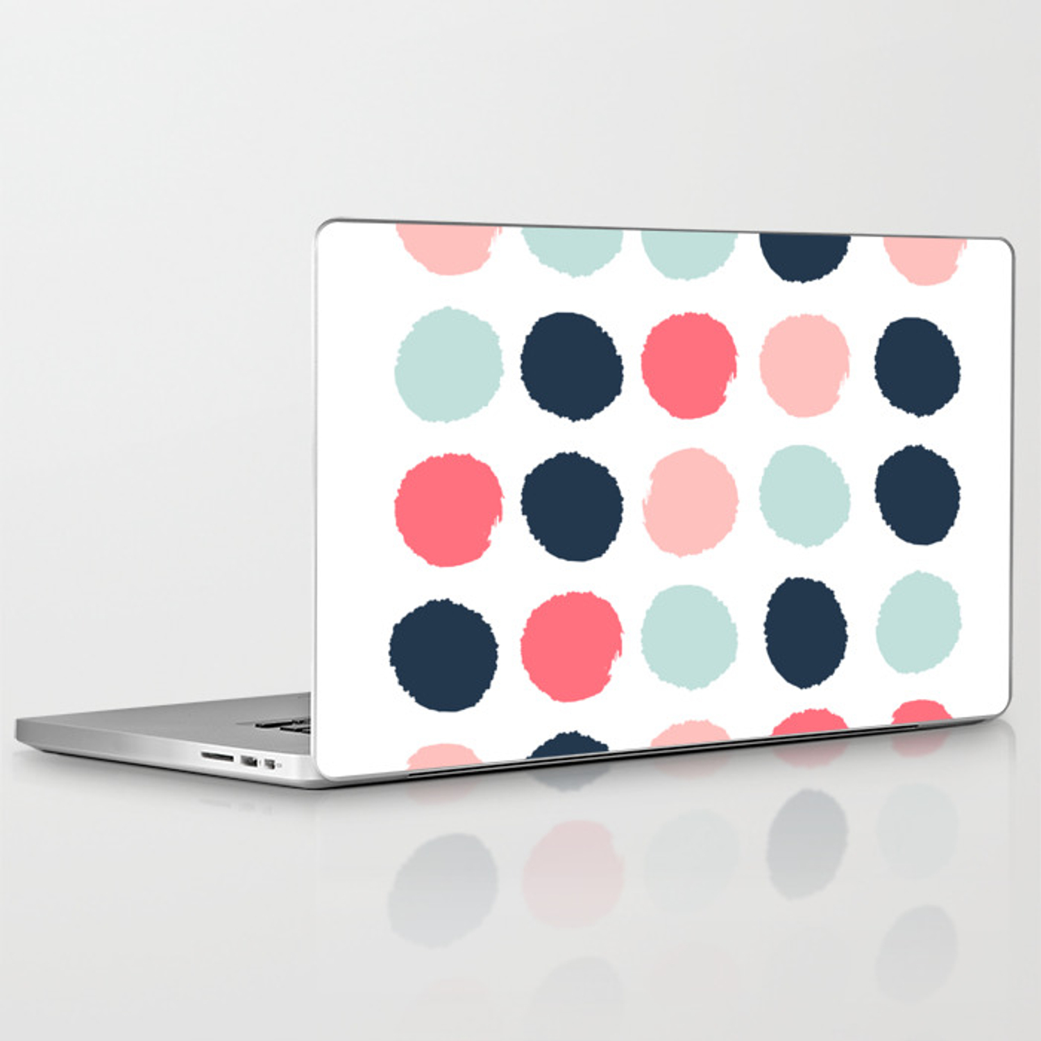 Dots painted coral mint navy pink pattern dotted polka dot minimalist  Laptop & iPad Skin by charlottewinter