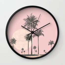 Tropical Sunset In Peach Coral Pastel Colors Wall Clock