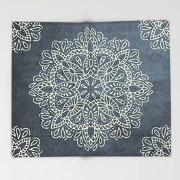 Mandala Vintage Ivory Blue Throw Blanket