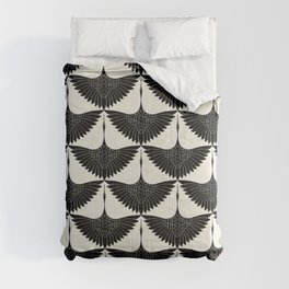 CRANE DESIGN - pattern - Black and White Comforters