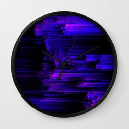 Ultraviolet Light Speed - Abstract Glitch Pixel Art Wall Clock