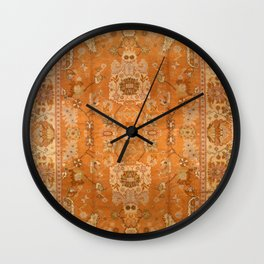 Antique Turkish Oushak Rug Print Wall Clock