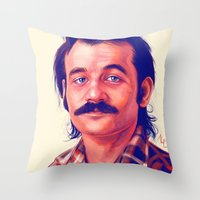bill murray Throw Pillows featuring Young Mr. Bill Murray by Thubakabra