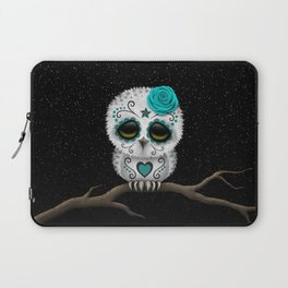 Adorable Teal Blue Day of the Dead Sugar Skull Owl Laptop Sleeve