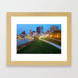 Columbus Downtown Skyline Along the River Framed Art Print