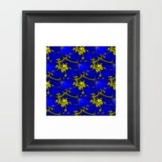 Cobalt Blue and Gold Fractal Framed Art Print