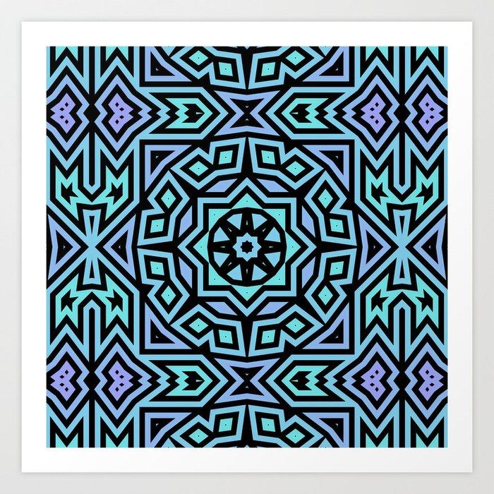 Aqua/Lilac/Black Tribal Pattern Art Print