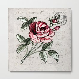 Shabby chic vintage rose and calligraphy Metal Print