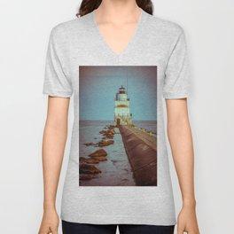 Manitowoc Breakwater Light Wisconsin Historic Lighthouse Lake Michigan Unisex V-Neck
