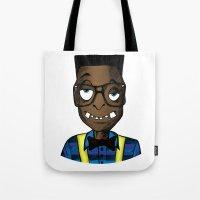 nerd Tote Bags featuring Nerd by DeMoose_Art