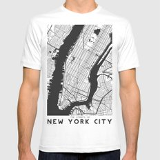 New York City map MEDIUM Mens Fitted Tee White
