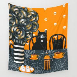 Halloween French Press Coffee Cats Wall Tapestry