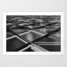 Wall of brushed metal tiles with diagonal glowing elements Art Print