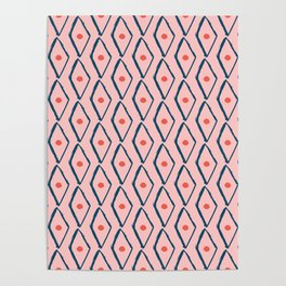 Pink Navy Diamond pattern Poster