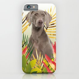 Weimaraner Dog in garden iPhone Case