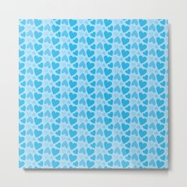Blue Hearts Pattern Metal Print