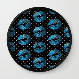 Blue Turquoise Glitter Lip Pattern Wall Clock